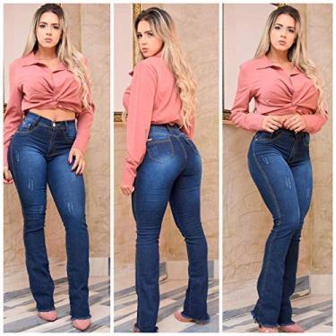 Calça Jeans Feminina Flare Puído Levanta Bumbum Elastano Lycra