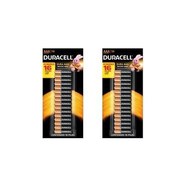 Kit com 2 cartelas de pilha Alcalina AAA Duracell cartela c/ 16 pilhas - total 32 pilhas