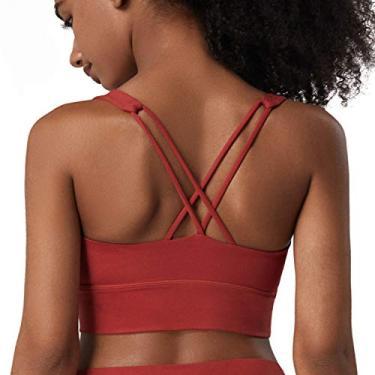Lykoxa Sutiã esportivo com costas nadador, sem costura, confortável, sutiã de yoga com bojo removível para mulheres, B-red, X-Large