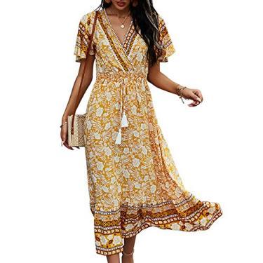 Moniclern Vestido feminino boho floral com decote em V elástico de cintura alta vintage praia feriado casual vestido meia canela