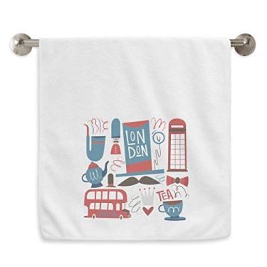 Imagem de DIYthinker Toalha de mão Big Ben British Bus Bandeira da Inglaterra Toalha de banho de algodão macio