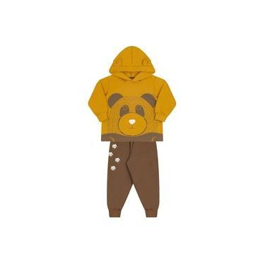 Conjunto Molekada 2 peças Jaqueta com Capuz e Calça Ursinho Amarelo Mostarda