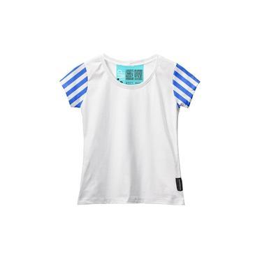Camiseta Baby Look Feminina Algodão Listrada Estilo Moda Branco/Azul