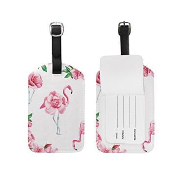 Cooper Girl Flowers Flamingo Bagagem Etiqueta Viagem Identificação Couro para Mala de Bagagem 1 Peça