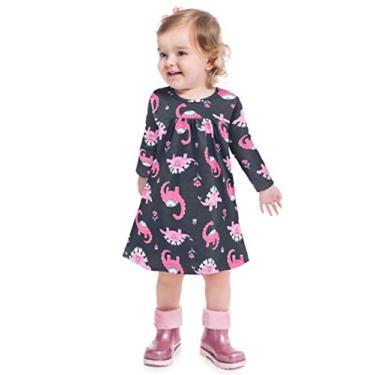 Vestido Infantil Inverno Dinossauros Rosa - Kyly