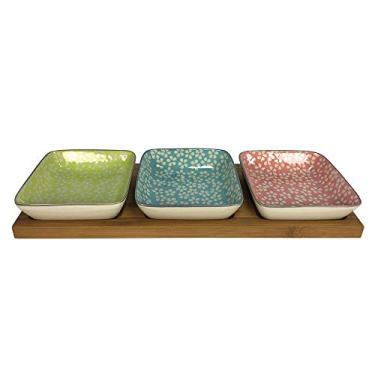 Imagem de Petisqueira de bambu com 3 bowls de cerâmica - 27549