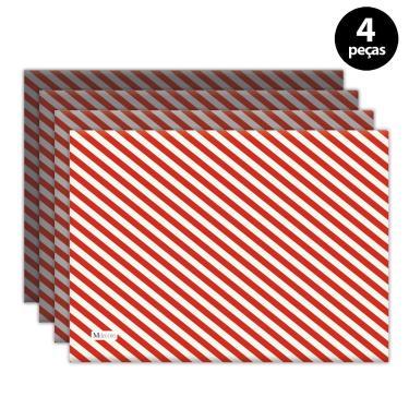 Imagem de Jogo Americano Mdecore Natal Listras 40x28 cm Vermelho 4pçs