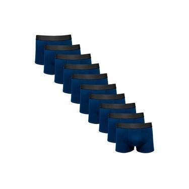Kit Com 10 Cuecas Boxer Cotton Confort Masculina Part.b Azul Marinho