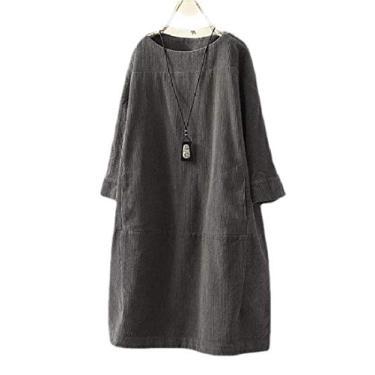 KLJR vestido midi feminino, casual, solto, de cor lisa, manga 3/4, Cinza, 3XL