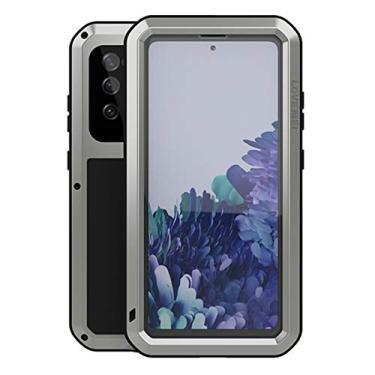 """Hicaseer Capa para Galaxy S20 FE, à prova de neve, poeira, metal de alumínio durável, Gorilla resistente, capa de proteção total para Samsung Galaxy S20 FE 6,5"""" - Prata"""
