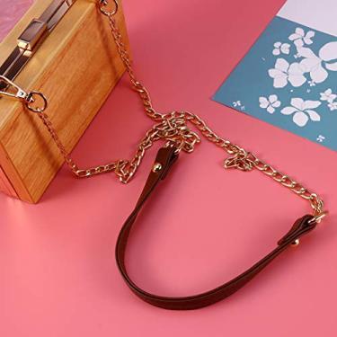 Imagem de 1 peça corrente de metal PU bolsa alça corrente de reposição bolsa acessórios com fivelas para bolsa, bolsa de ombro, marrom e dourado