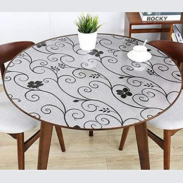 Imagem de Tampa de mesa redonda de plástico de 80 cm, conjuntos de toalha de mesa para sala de jantar, toalha de mesa à prova de derramamento, à prova d'água, à prova de óleo, anti-escaldante, para de