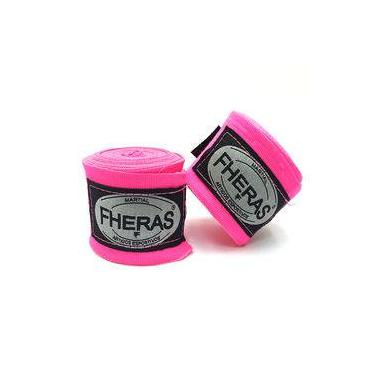Kit Boxe Muay Thai Tradicional Luva Bandagem Bucal 10 Oz - Rosa