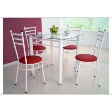 Jogo de Mesa Tulipa Branco com 4 Cadeiras com Assento Corino Vermelho - Marcheli