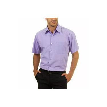 Camisa Social Manga Curta 100% Microfibra Masculina Lilás Bom Pano 7a0da0fdf4e67