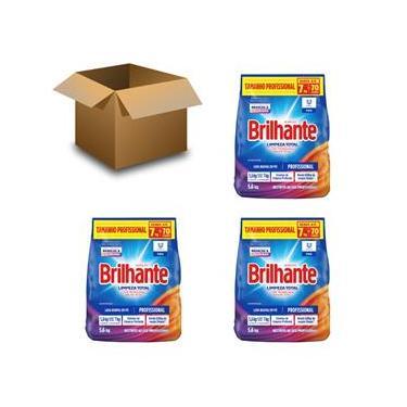 Imagem de Sabão em Pó Brilhante Limpeza Total Profissional 5,6kg – 03 Unidades