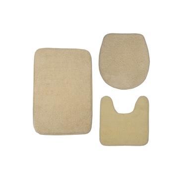 Imagem de Kit Com 03 Tapetes Para Banheiro Felpudo - Bege
