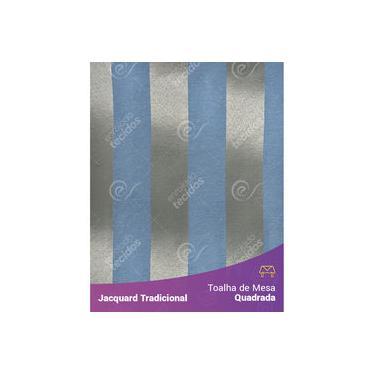 Imagem de Toalha De Mesa Quadrada Em Tecido Jacquard Azul E Dourado Listrado Tradicional