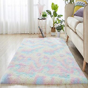 XWU Tapete macio arco-íris, tapete antiderrapante Tapete felpudo Tapetes sintéticos quentes felpudos, carpete doméstico lavável para sala de estar, sofá, piso, decoração de casa,40x60cm