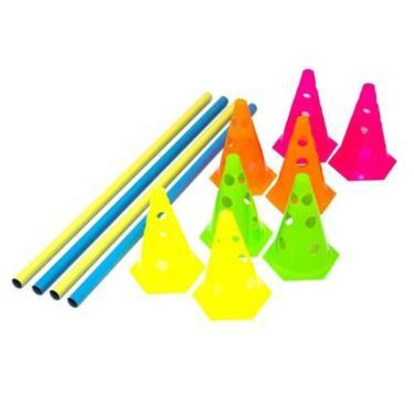 Kit Funcional 8 Cones Com Furos + 4 Barreiras