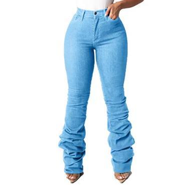 Calça jeans feminina flare cintura alta rasgada com boca de sino clássica casual calça jeans plus size, S-light Blue, Large