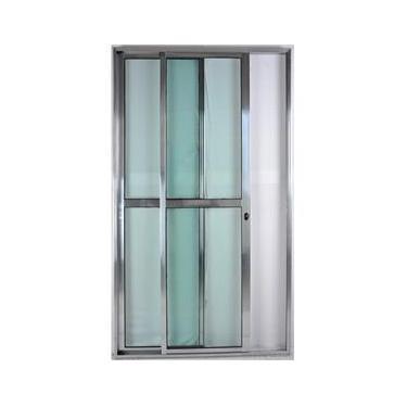 Porta de Alumínio de Correr Balcão 2 Folhas 2,10 x 1,50 Brilhante Linha 25 Com Chave