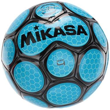 Mikasa Bola de futebol, tamanho 5, preto/azul neon