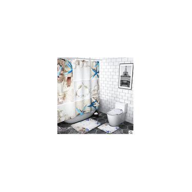 Imagem de 1/3/4 peças para banheiro cortina de chuveiro à prova d'água Conjunto de tapete de banho antiderrapante Tampa de assento de toalete lavável Tampa de pedestal de tapete Tampa de banheiro Tapete de banheiro Cortina de chuveiro de 1 peça