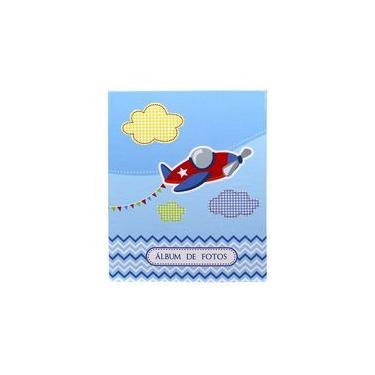 Álbum De Fotos Infantil Azul Avião Para 500 Fotos 10x15cm