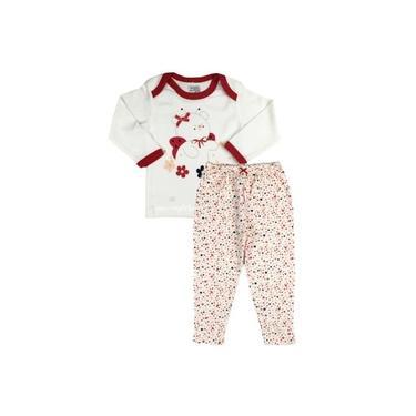 Pijama Bebê Menina Manga Longa e Calça Comprida Floral Zig Mundi
