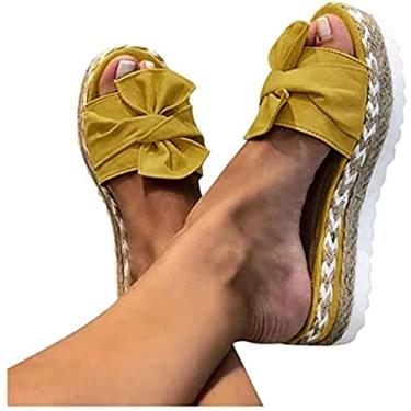 Imagem de Xbtianxia Sandália feminina com salto anabela – Botas de verão com laço de amarrar e chinelos de plataforma sem cadarço Sapatos respiráveis de bico aberto (Cor: Amarelo, Tamanho: 9,5-10)