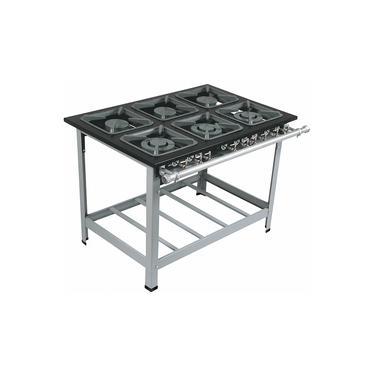 Fogao Industrial 6 Bocas M-15 Q/d Super Luxo 40X40 Perfil 9 Cm Com Porta Panela - Metalmaq