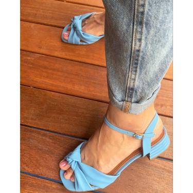 Sandália Nó Salto Quadrado Alyssa Azul 38 Lelive  feminino