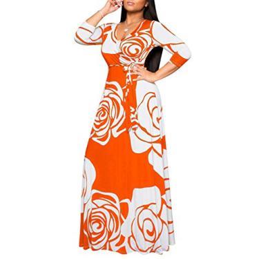 Vestido feminino casual com gola em V, estampa floral, longo, longo, rodado, plus size, roupa vintage, Orange9774, L