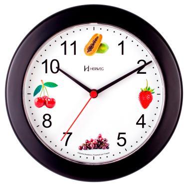 Relógio Parede 21cm Silencioso Cozinha Preto Herweg 660070S