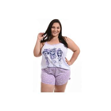 Pijama Feminino Baby Doll Plus Size Short Curto Camiseta com nadadeira
