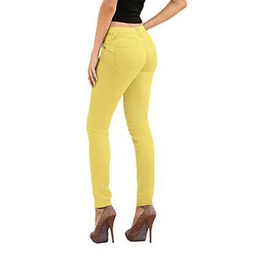 Calça jeans feminina Hybrid & Co. com elástico super confortável, skinny para ioga, Amarelo, 5