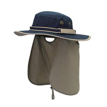 Chapéu para atividades ao ar livre Chapéu de sombra Chapéu de proteção UV Chapéu de proteção solar Chapéu de aba larga com aba de pescoço (azul escuro + xale cinza claro)