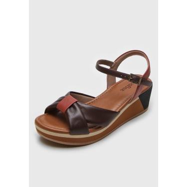 Sandália Usaflex Recortes Marrom/Caramelo Usaflex AD3403 feminino