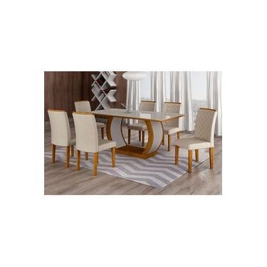 Conjunto De Mesa De Jantar Com 6 Cadeiras Maia Iii Veludo Imbuia E Creme