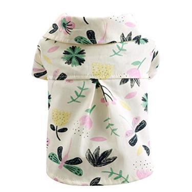 Roupa de cão - Camisa estampada de flores de verão Macio gato roupas de cachorro estilo fino Havaí camisa animal de estimação (tamanho S)