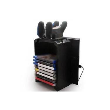 Cor preta Torre de Discos de Jogo Suporte Vertical para PS4 Para DualShock Controlador Estação de Doca de Carregamento para PlayStation 4 PRO Slim