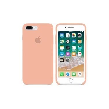 Capa iphone 7 e 8 Plus Rosa Silicone Aveludado + 1 PelÍcula 3D