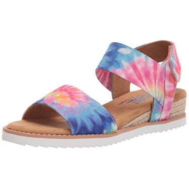 Sandália feminina Skechers BOBS Desert Kiss – Flor Dourada, Pink/Multi, 7.5