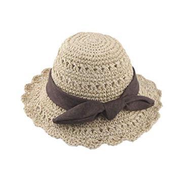 Chapéu de praia infantil de verão respirável com laço e palha chapéu de proteção para bebês (bege)