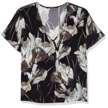 Camiseta Estampada, Forum, Feminino, Preto/Off/Laranja/Cinza, M