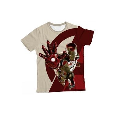 Camiseta Infantil Homem de Ferro Bege e Vermelho MC
