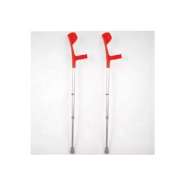 Imagem de Muleta Canadense Vermelha Regulável Alo Colorida até 130kg - Par