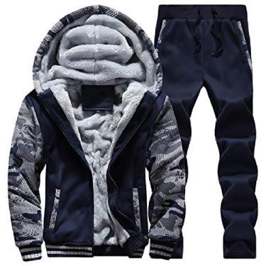 Abetteric – Conjunto masculino casual de moletom com capuz e zíper grosso para o inverno, Dark Blue, Medium