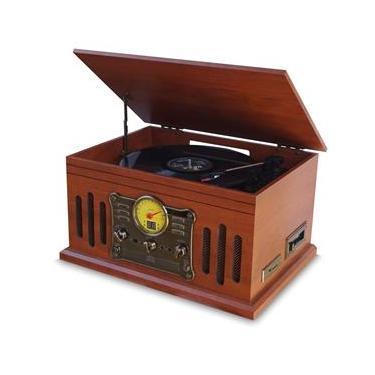 Vitrola Retrô Raveo Stadio Toca Discos, USB, SD, CD, FM, AUX, Bluetooth, K7, Reproduz e Grava Vinil